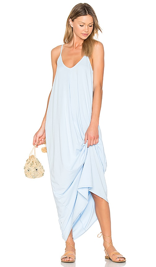 Bobi Drape Maxi Dress in Baby Blue