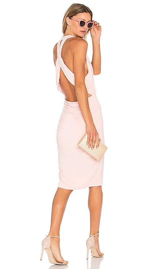 Bobi Deep V Mini Dress in Blush