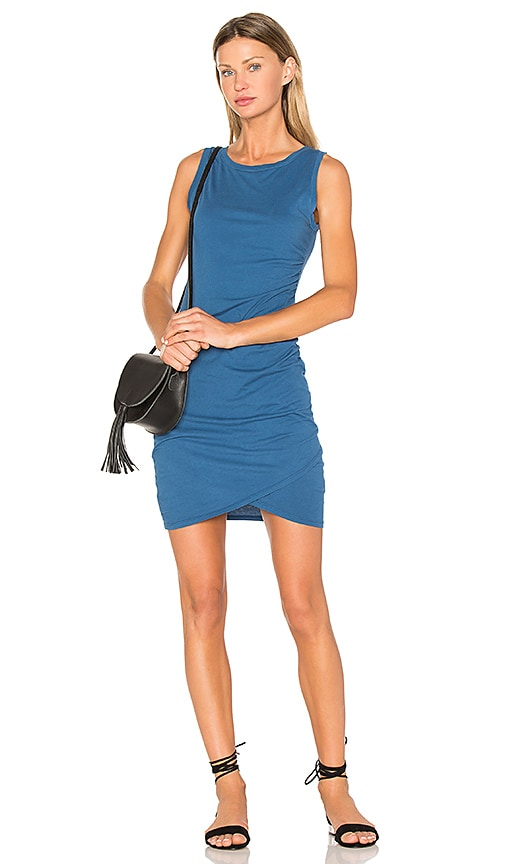 Bobi Supreme Jersey Ruched Bodycon Dress in Blue