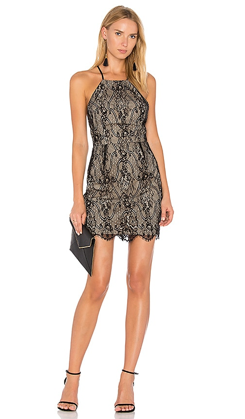 Bobi BLACK Lace Mini Dress in Black