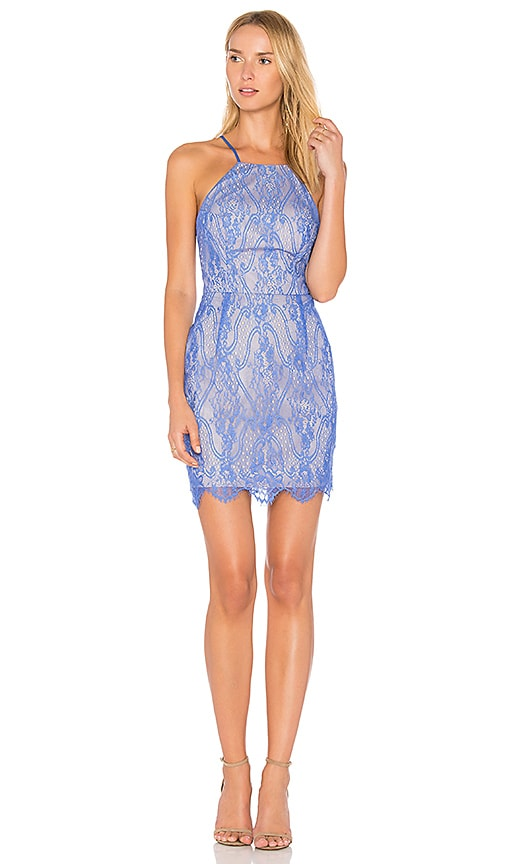 Bobi BLACK Lace Mini Dress in Blue