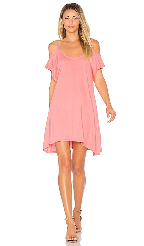 Bobi Light Weight Jersey Cold Shoulder Dress in Pink