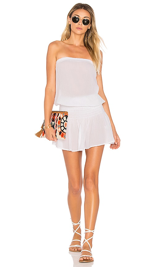 Bobi Gauze Strapless Dress in White