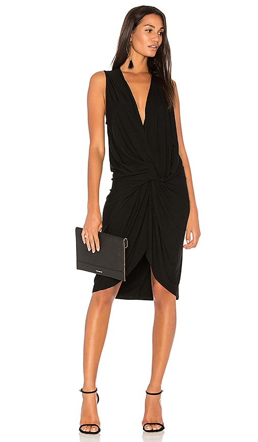 Bobi BLACK Twist Front Dress in Black