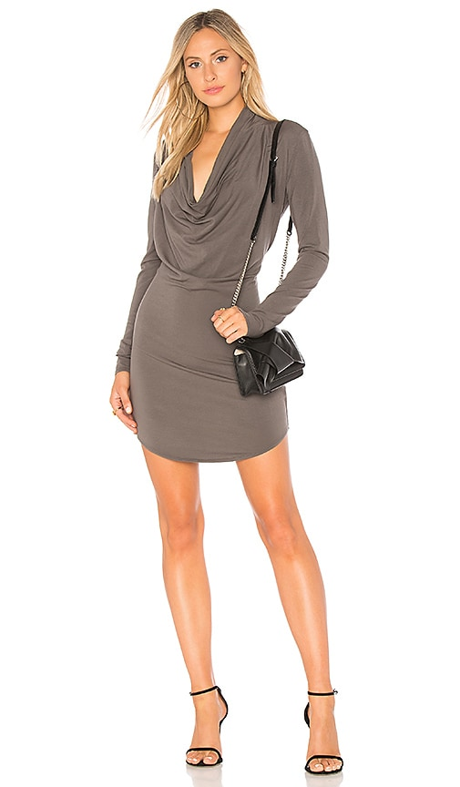 Bobi Draped Jersey T Shirt Dress in Gray