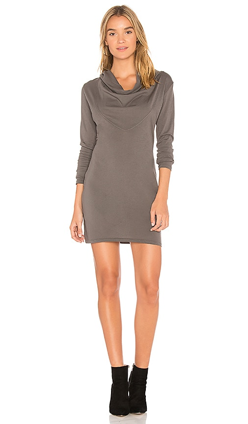 Bobi Supreme Jersey Cowl Hoodie Dress in Gray