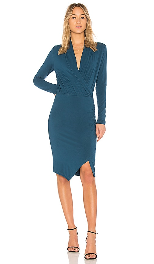 Bobi BLACK Jersey Wrap Dress in Teal