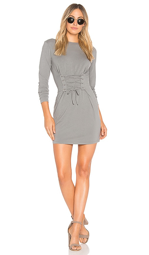 Bobi Drape Modal Long Sleeve Dress in Sage