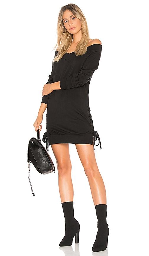Bobi Plush Terry Lace Up Dress in Black
