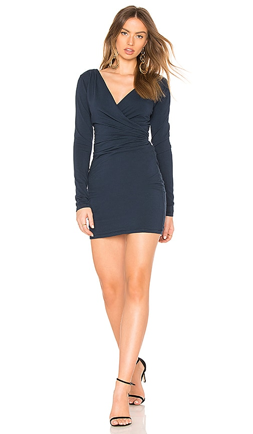 Bobi Jersey Draped Mini Dress in Navy