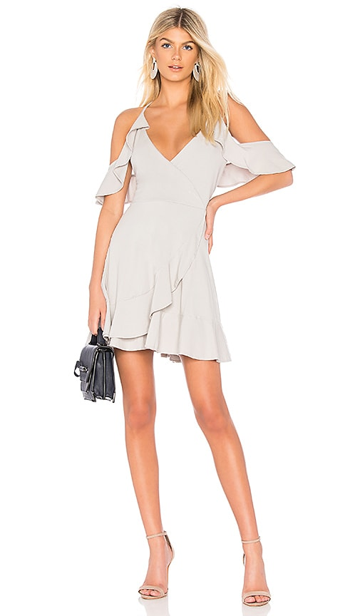 Bobi Draped Modal Jersey Cold Shoulder Dress in Light Gray