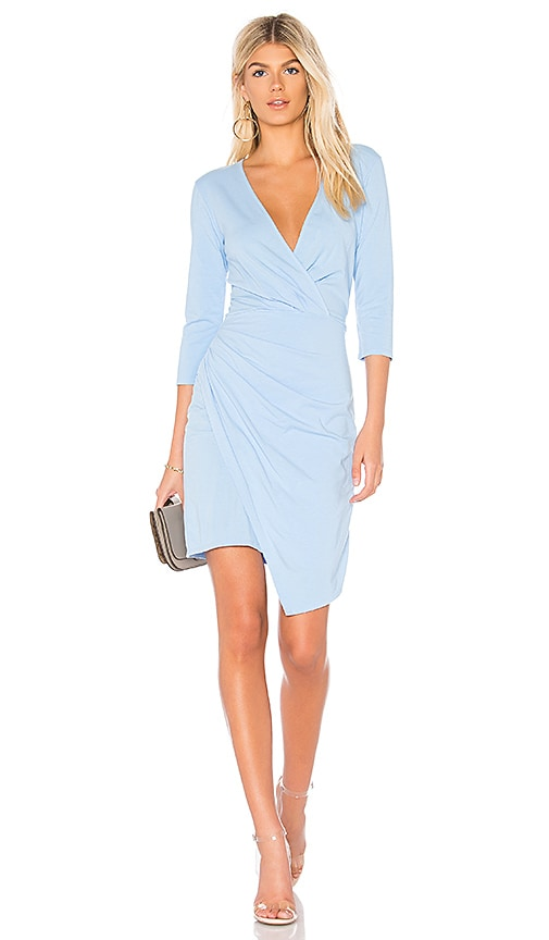 Bobi Draped Modal Jersey Dress in Baby Blue