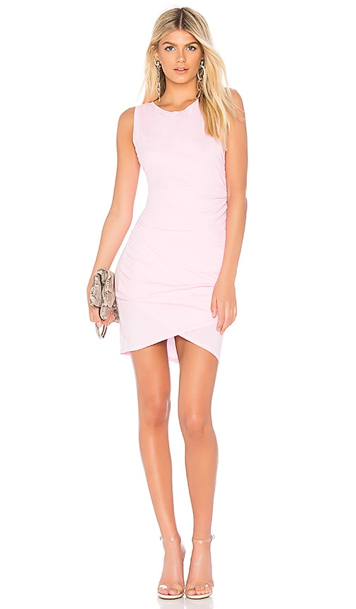 Bobi Supreme Jersey Mini Wrap Dress in Pink