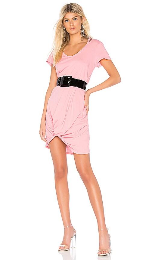 Bobi Lightweight Jersey Knotted Dress in Pink