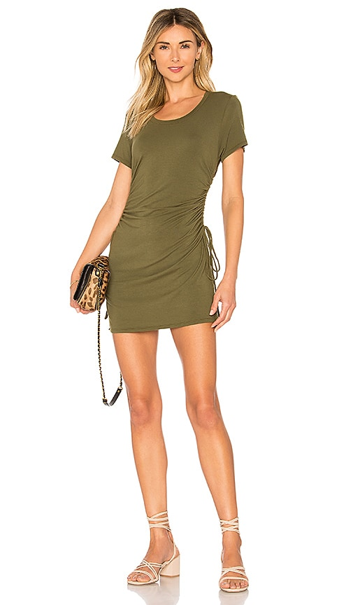 Bobi Draped Modal Jersey Ruched Dress in Olive