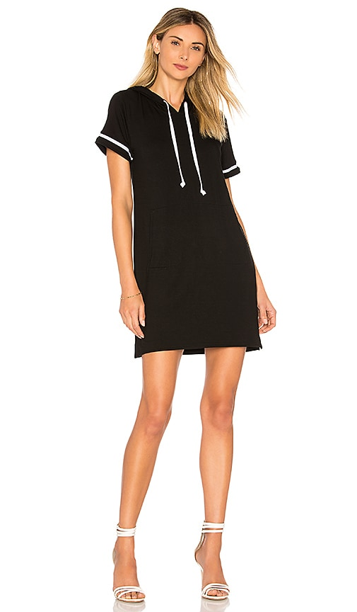 Bobi Rayon Terry Mini Dress in Black