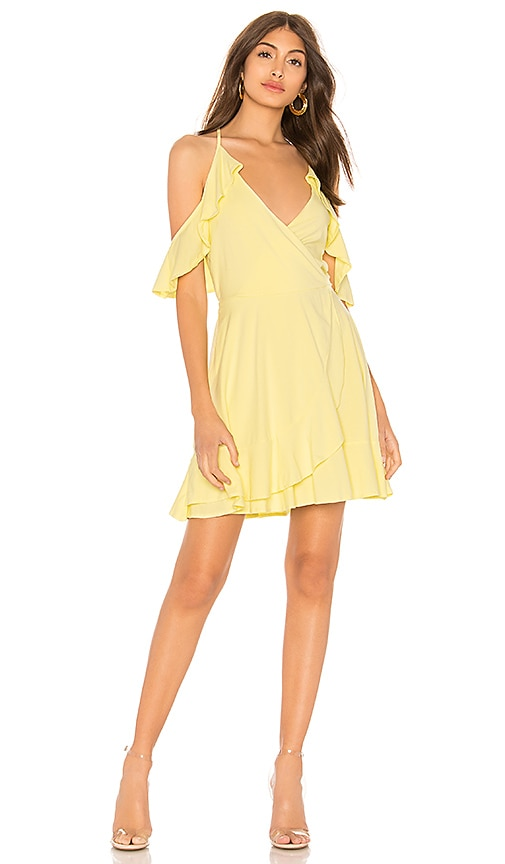 Bobi Draped Modal Jersey Cold Shoulder Dress in Lemon
