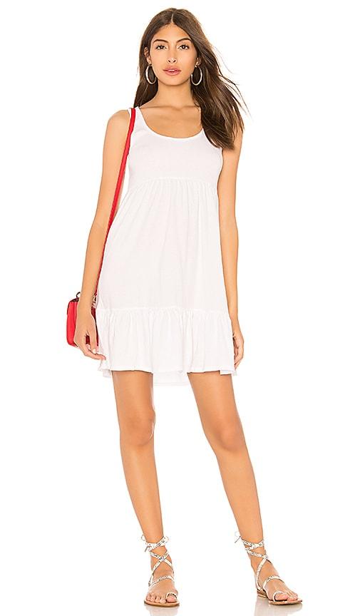 Bobi Lightweight Jersey Tank Dress in White