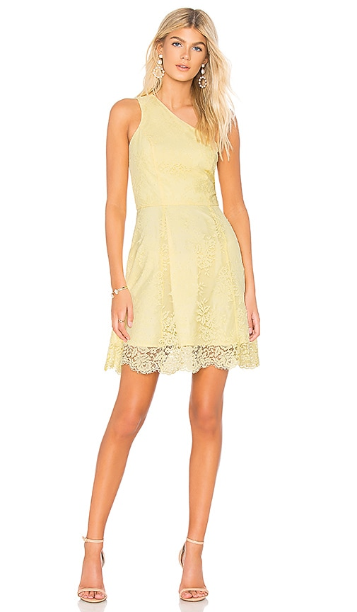 Bobi BLACK Lace One Shoulder Dress in Yellow