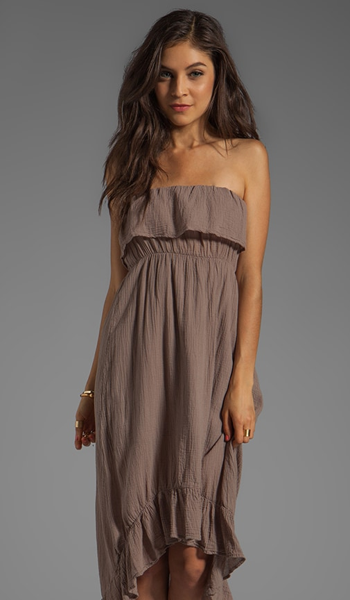 Gauze Strapless Ruffle Dress
