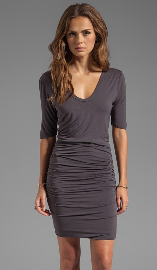 Ruched Scoop Neck Dress