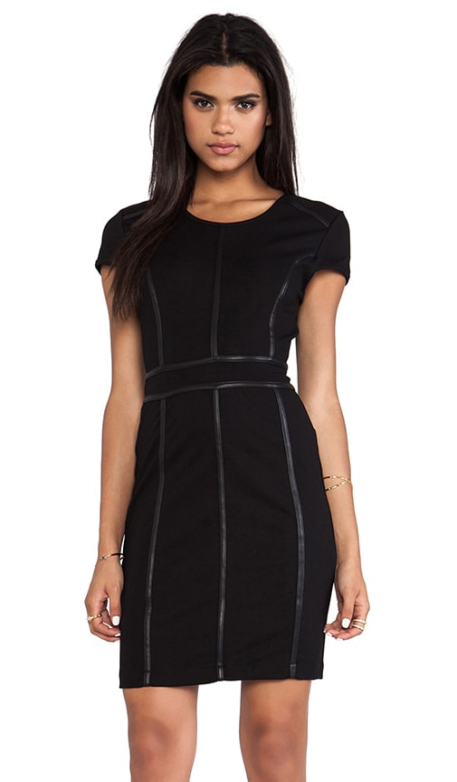 Body Con Dress with Leather Trim