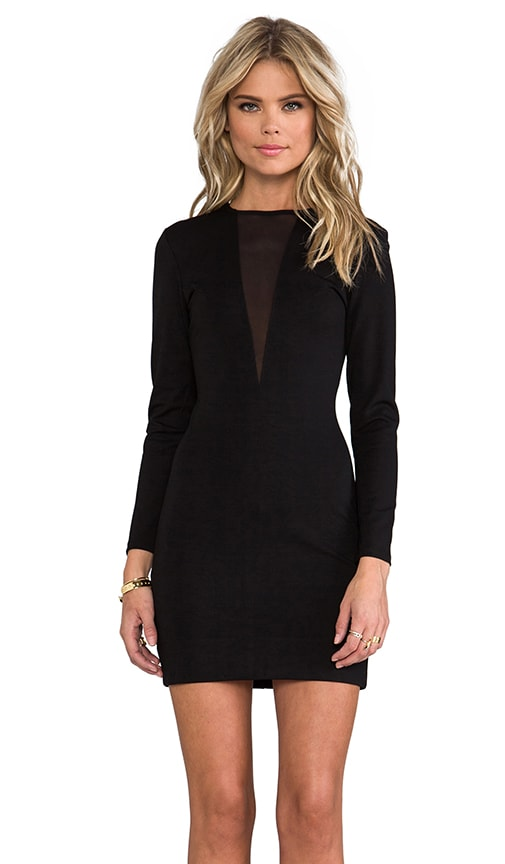 Ponte & Mesh Long Sleeve Dress