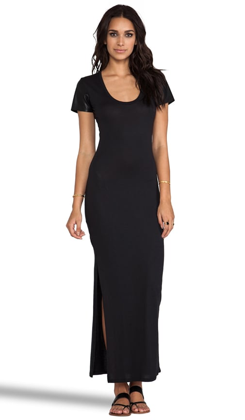 Jersey Maxi Dress with Leather