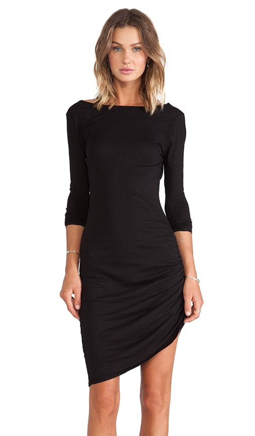 Bobi Light Weight Jersey Asymmetrical Dress in Black