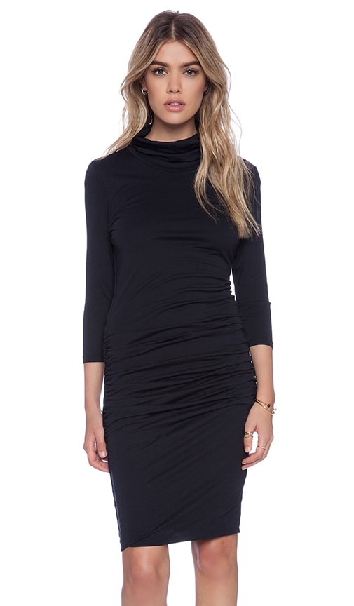 Modal Jersey Turtleneck Midi Dress