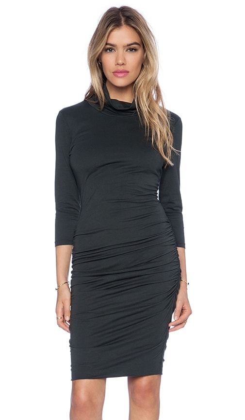 Modal Jersey Turtleneck Midi Dress