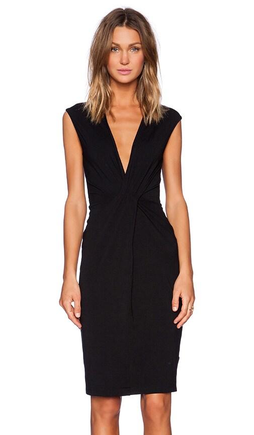 Bobi Rayon Jersey Deep V Dress in Black