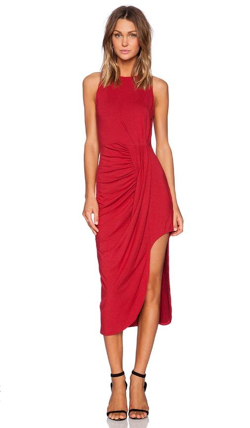 Bobi Rayon Jersey Asymmetrical Tank Dress in Deep Red | REVOLVE