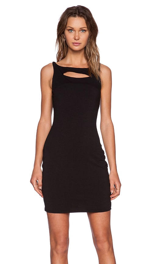 Bobi Heavy Spandex Mini Dress in Black