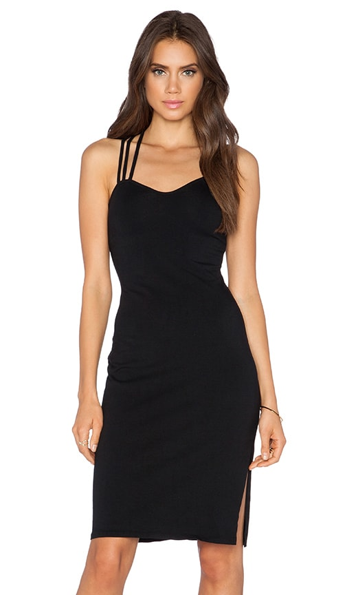 Bobi Heavy Spandex Criss Cross Back Dress in Black