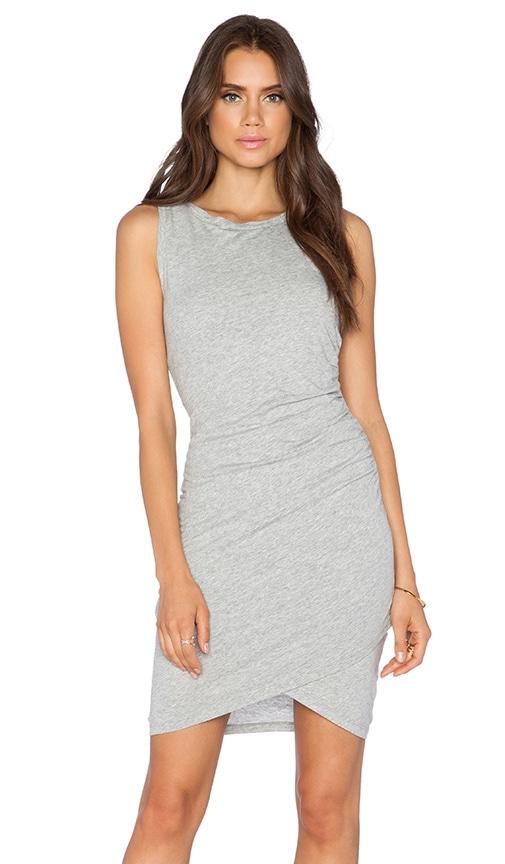 Bobi Supreme Jersey Ruched Mini Dress in Gray