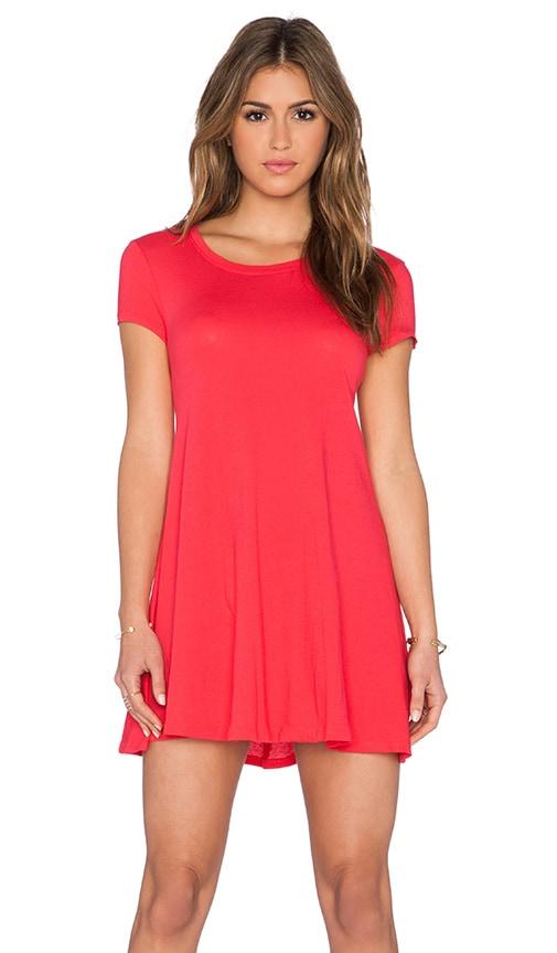 Bobi Light Weight Jersey Short Sleeve Dress in Light Raspberry