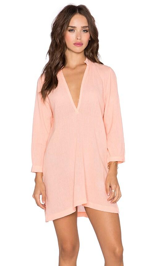Bobi Gauze V Neck Tunic Dress in Peachy