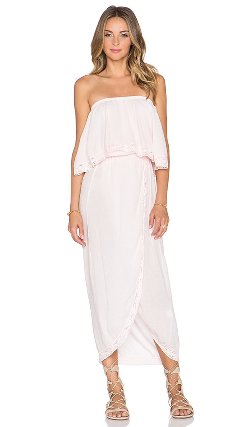 Bobi Gauze Strapless Maxi Dress in Angel Pink