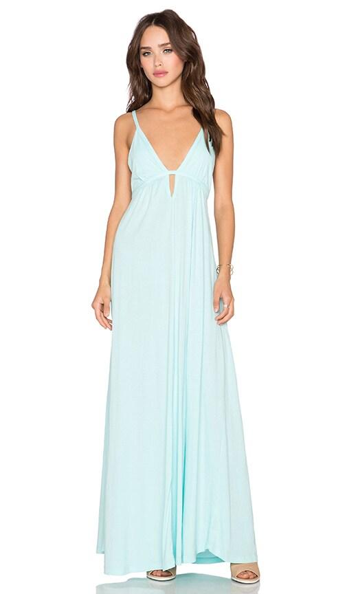 Bobi Supreme Jersey Halter Maxi Dress in Blu Beach