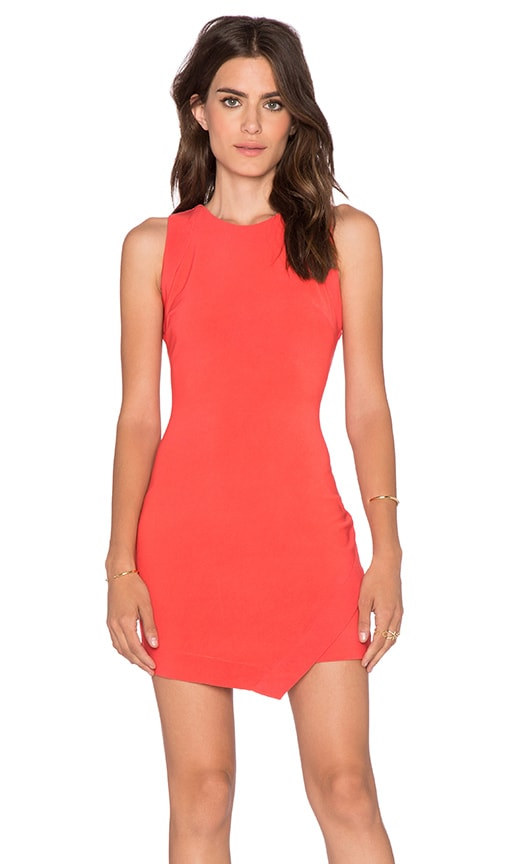 Bobi BLACK Luxe Stretch Crepe Asymmetric Dress in Cherry