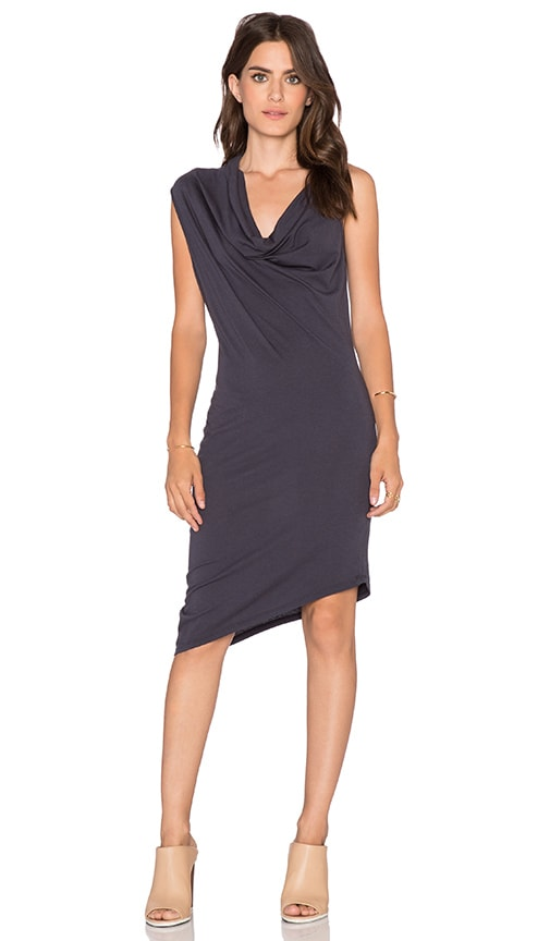 Bobi Modal Jersey Drapey Dress in Dark Cloud