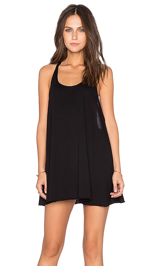Bobi Light Weight Jersey Racerback Dress in Black