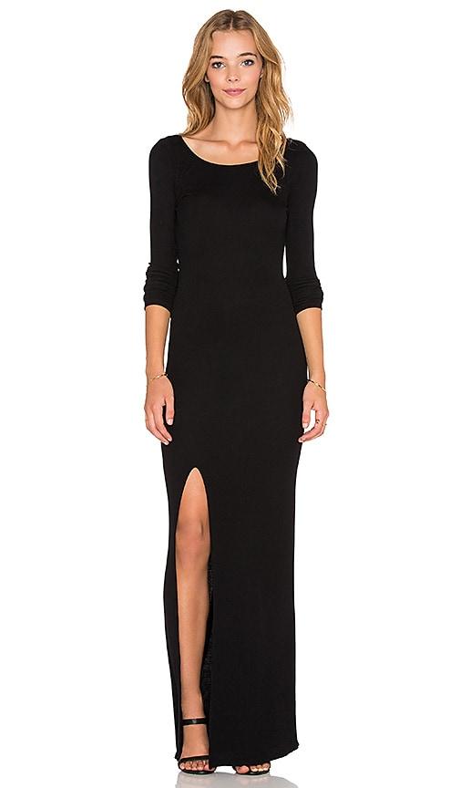 Bobi Cozy Spandex High Slit Maxi Dress in Black