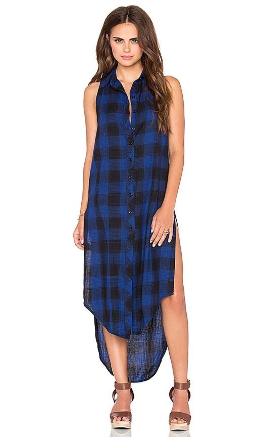 Bobi Woven Plaid Sleeveless Shirt Dress in Blue