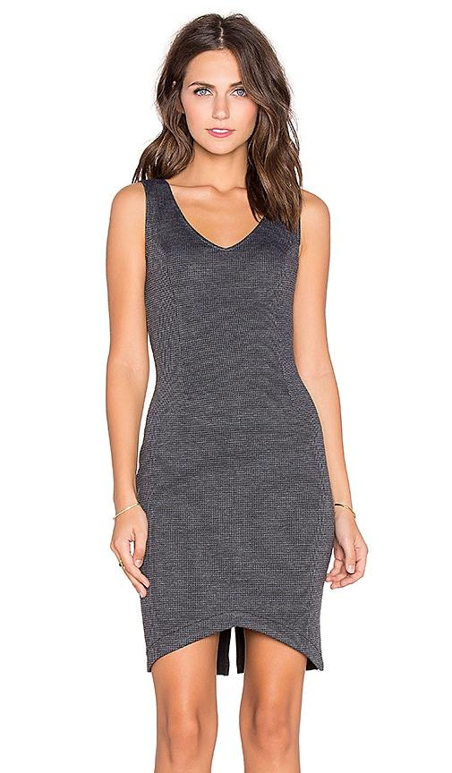 Bobi BLACK Mixed Knit V Neck Dress in Charcoal