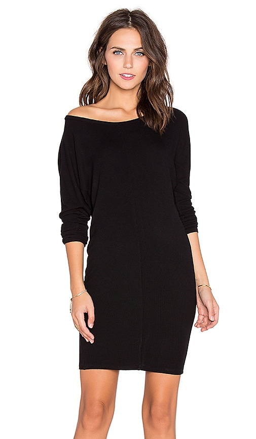 Bobi Cozy Spandex 3/4 Sleeve Mini Dress in Black