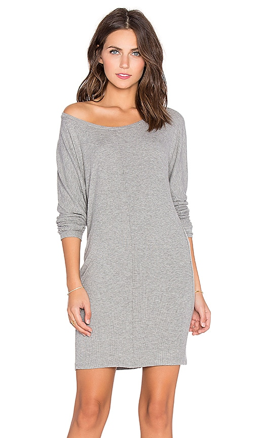 Bobi Cozy Spandex 3/4 Sleeve Mini Dress in Light Grey