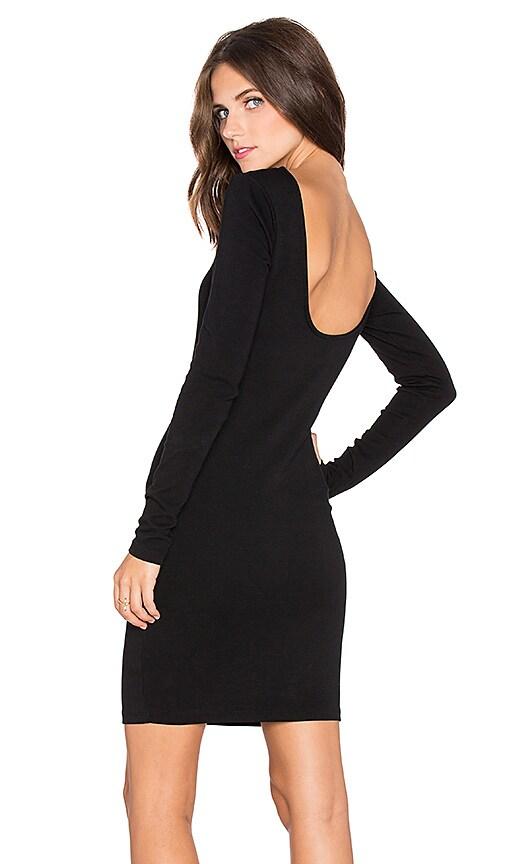 Bobi Athletic Scuba Scoop Back Mini Dress in Black