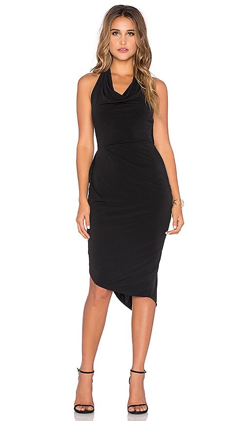 Bobi BLACK Liquid Jersey Halter Mini Dress in Black